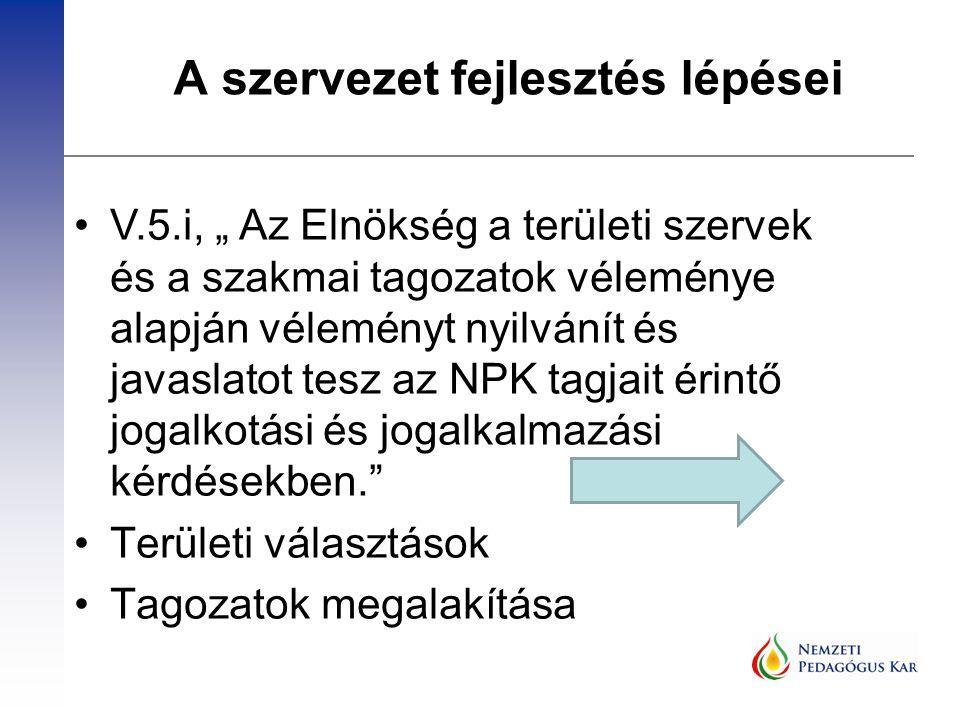 """A szervezet fejlesztés lépései V.5.i, """" Az Elnökség a területi szervek és a szakmai tagozatok véleménye alapján véleményt nyilvánít és javaslatot tesz"""
