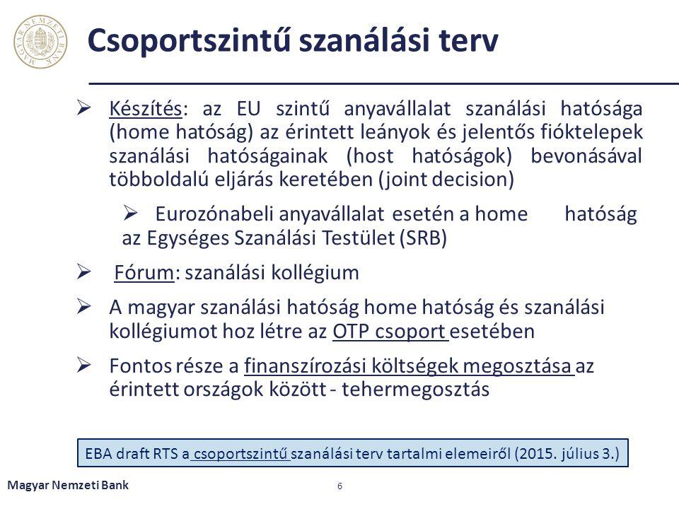 Csoportszintű szanálási terv  Készítés: az EU szintű anyavállalat szanálási hatósága (home hatóság) az érintett leányok és jelentős fióktelepek szaná