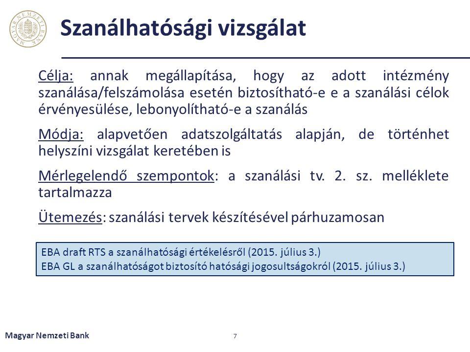 Szanálhatósági vizsgálat Magyar Nemzeti Bank 7 Célja: annak megállapítása, hogy az adott intézmény szanálása/felszámolása esetén biztosítható-e e a sz