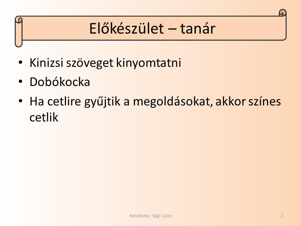 Bevezető játék Készítette: Sági Lajos3 Gyűjtsetek rokon értelmű kifejezéseket, a következő szavak valamelyikéhez.