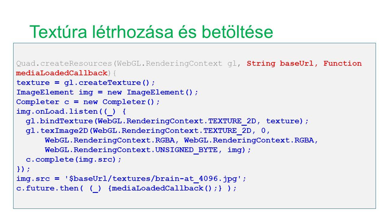 Textúra létrhozása és betöltése Quad.createResources(WebGL.RenderingContext gl, String baseUrl, Function mediaLoadedCallback){ texture = gl.createTexture(); ImageElement img = new ImageElement(); Completer c = new Completer(); img.onLoad.listen((_) { gl.bindTexture(WebGL.RenderingContext.TEXTURE_2D, texture); gl.texImage2D(WebGL.RenderingContext.TEXTURE_2D, 0, WebGL.RenderingContext.RGBA, WebGL.RenderingContext.RGBA, WebGL.RenderingContext.UNSIGNED_BYTE, img); c.complete(img.src); }); img.src = $baseUrl/textures/brain-at_4096.jpg ; c.future.then( (_) {mediaLoadedCallback();} );