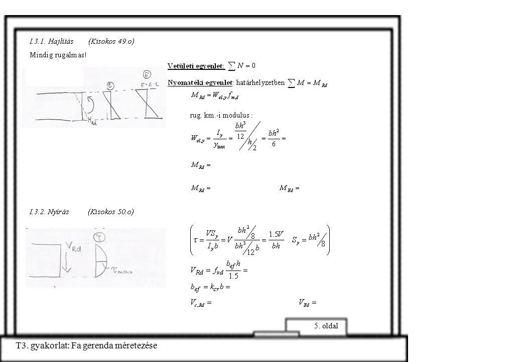 T3.gyakorlat: Fa gerenda méretezése 6. oldal Megengedett lehajlás (Kisokos 19.o) l/250= I.5.