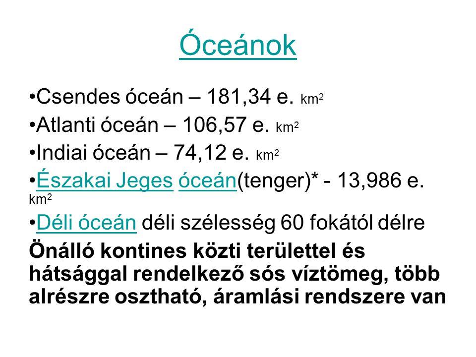 Óceánok Csendes óceán – 181,34 e. km 2 Atlanti óceán – 106,57 e. km 2 Indiai óceán – 74,12 e. km 2 Északai Jeges óceán(tenger)* - 13,986 e. km 2Északa