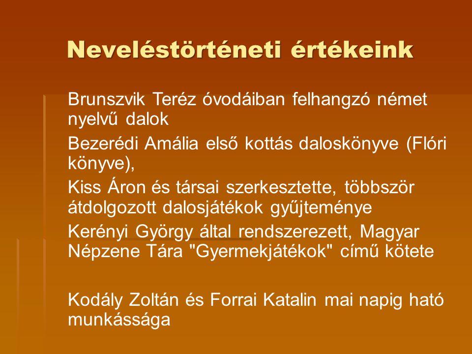 Brunszvik Teréz óvodáiban felhangzó német nyelvű dalok Bezerédi Amália első kottás daloskönyve (Flóri könyve), Kiss Áron és társai szerkesztette, több