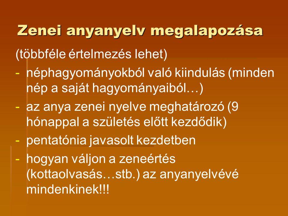 Zenei anyanyelv megalapozása (többféle értelmezés lehet) - -néphagyományokból való kiindulás (minden nép a saját hagyományaiból…) - -az anya zenei nye
