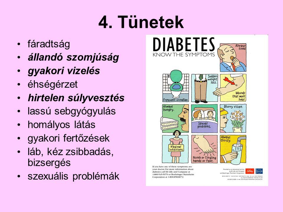 4. Tünetek fáradtság állandó szomjúság gyakori vizelés éhségérzet hirtelen súlyvesztés lassú sebgyógyulás homályos látás gyakori fertőzések láb, kéz z