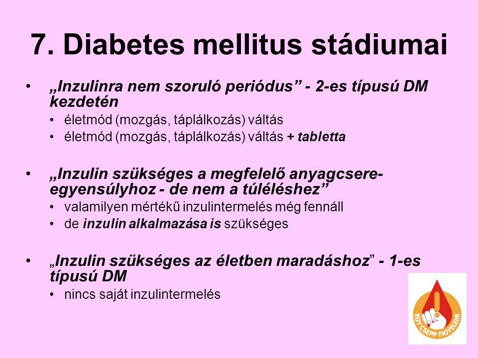 """7. Diabetes mellitus stádiumai """"Inzulinra nem szoruló periódus"""" - 2-es típusú DM kezdetén életmód (mozgás, táplálkozás) váltás életmód (mozgás, táplál"""