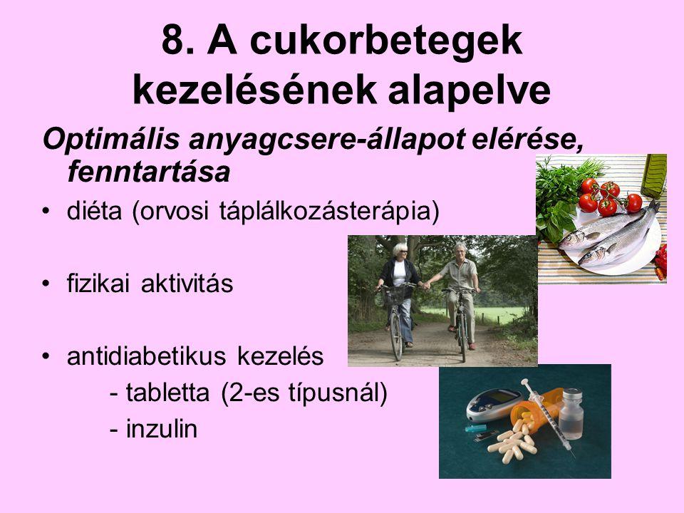 8. A cukorbetegek kezelésének alapelve Optimális anyagcsere-állapot elérése, fenntartása diéta (orvosi táplálkozásterápia) fizikai aktivitás antidiabe
