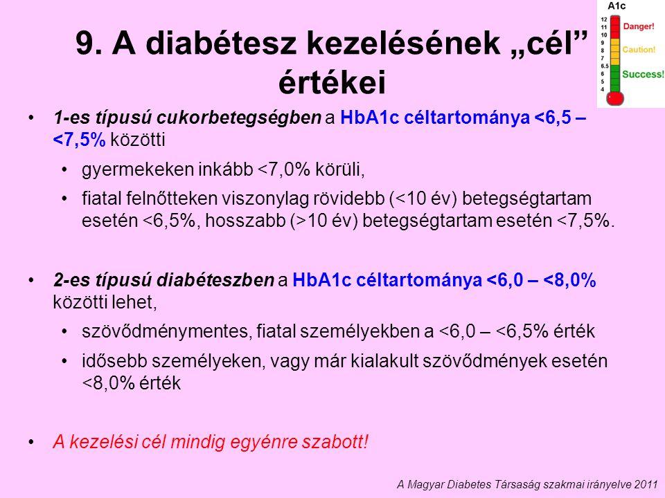 """9. A diabétesz kezelésének """"cél"""" értékei 1-es típusú cukorbetegségben a HbA1c céltartománya <6,5 – <7,5% közötti gyermekeken inkább <7,0% körüli, fiat"""