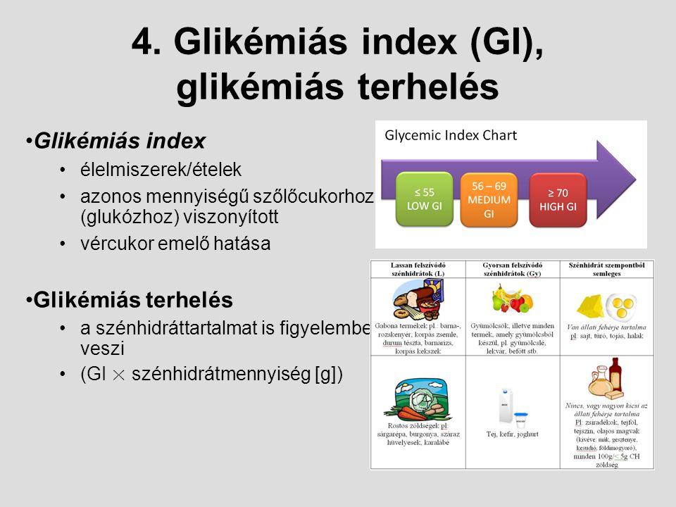 4. Glikémiás index (GI), glikémiás terhelés G l i k é m i á s i n d e x : É l e l m i s z e r e k / é t e l e k a z o n o s m e n n y i s é g ű g l u
