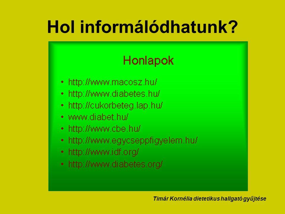 Hol informálódhatunk? Timár Kornélia dietetikus hallgató gyűjtése