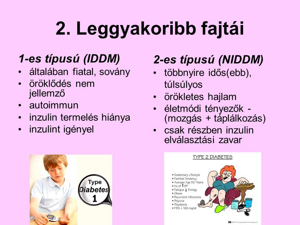 2. Leggyakoribb fajtái 1-es típusú (IDDM) általában fiatal, sovány öröklődés nem jellemző autoimmun inzulin termelés hiánya inzulint igényel 2-es típu