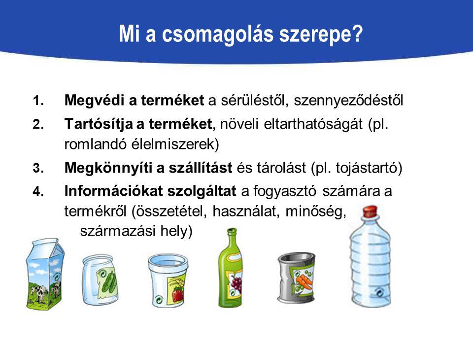 Mi a csomagolás szerepe? 1. Megvédi a terméket a sérüléstől, szennyeződéstől 2. Tartósítja a terméket, növeli eltarthatóságát (pl. romlandó élelmiszer