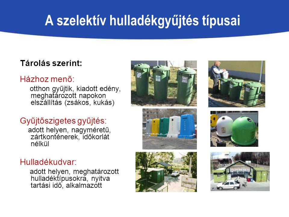 A szelektív hulladékgyűjtés típusai Tárolás szerint: Házhoz menő: otthon gyűjtik, kiadott edény, meghatározott napokon elszállítás (zsákos, kukás) Gyű