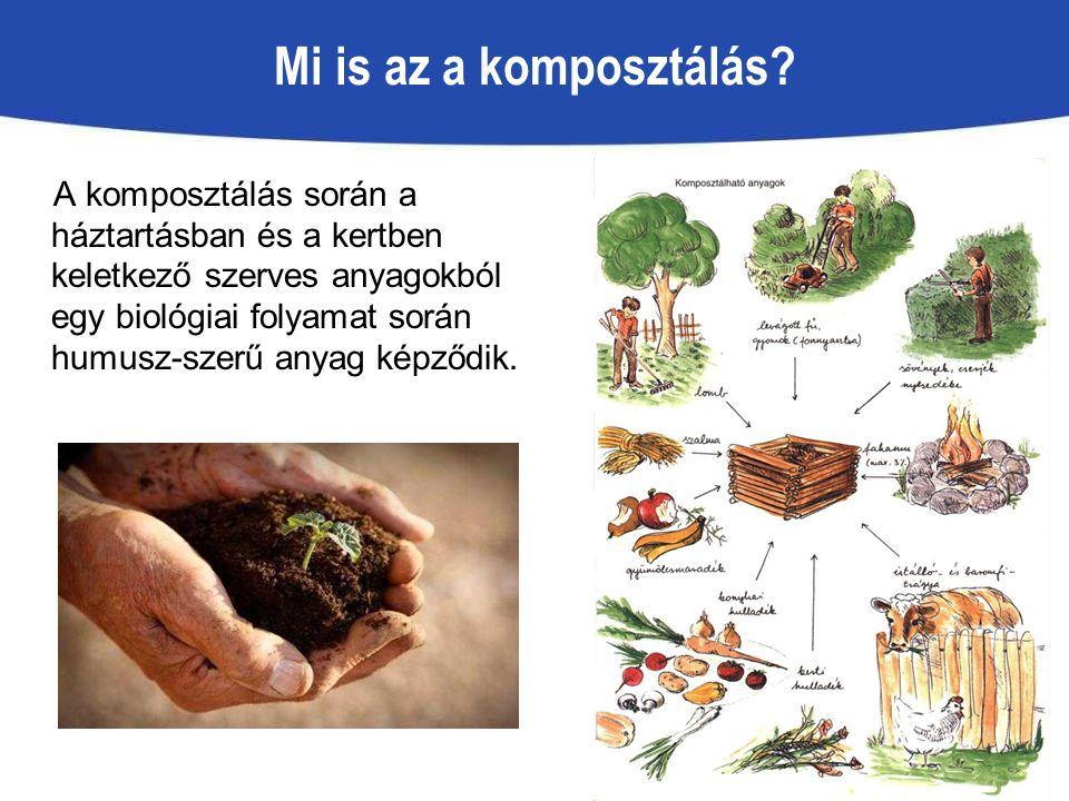 Mi is az a komposztálás? A komposztálás során a háztartásban és a kertben keletkező szerves anyagokból egy biológiai folyamat során humusz-szerű anyag