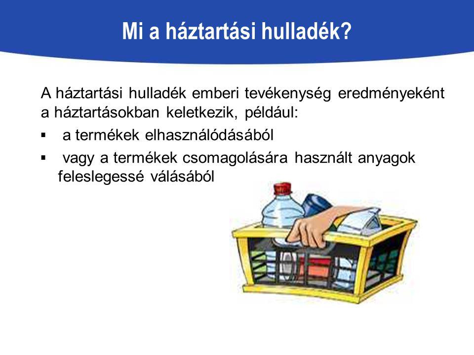 A háztartási hulladék emberi tevékenység eredményeként a háztartásokban keletkezik, például:  a termékek elhasználódásából  vagy a termékek csomagol