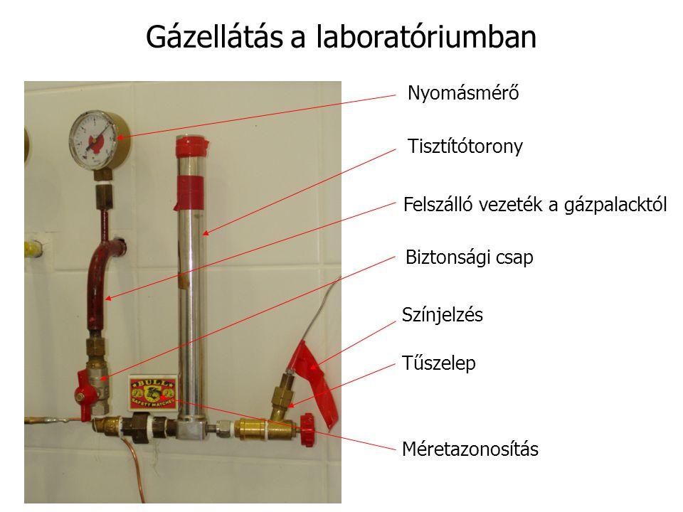 Gázellátás a laboratóriumban Nyomásmérő Tisztítótorony Felszálló vezeték a gázpalacktól Biztonsági csap Színjelzés Tűszelep Méretazonosítás