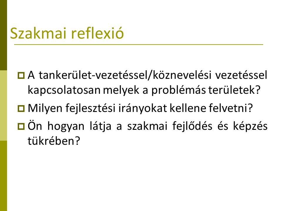 Szakmai reflexió  A tankerület-vezetéssel/köznevelési vezetéssel kapcsolatosan melyek a problémás területek?  Milyen fejlesztési irányokat kellene f