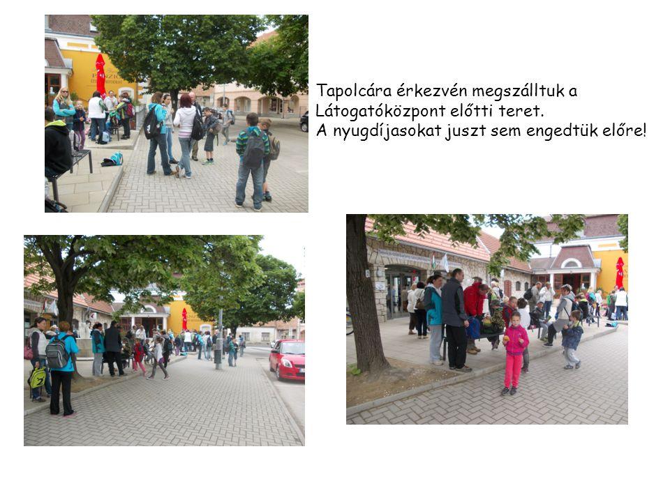 Tapolcára érkezvén megszálltuk a Látogatóközpont előtti teret. A nyugdíjasokat juszt sem engedtük előre!