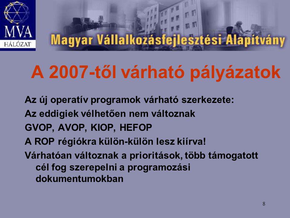 8 A 2007-től várható pályázatok Az új operatív programok várható szerkezete: Az eddigiek vélhetően nem változnak GVOP, AVOP, KIOP, HEFOP A ROP régiókra külön-külön lesz kiírva.