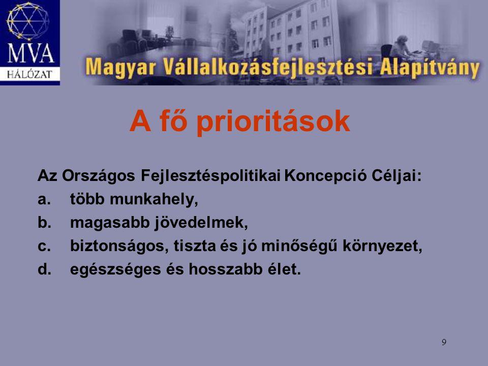 9 A fő prioritások Az Országos Fejlesztéspolitikai Koncepció Céljai: a.több munkahely, b.magasabb jövedelmek, c.biztonságos, tiszta és jó minőségű környezet, d.egészséges és hosszabb élet.