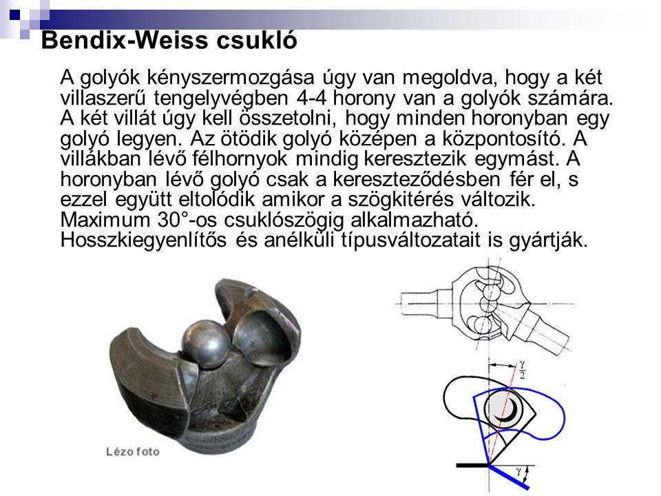 Bendix-Weiss csukló A golyók kényszermozgása úgy van megoldva, hogy a két villaszerű tengelyvégben 4-4 horony van a golyók számára. A két villát úgy k