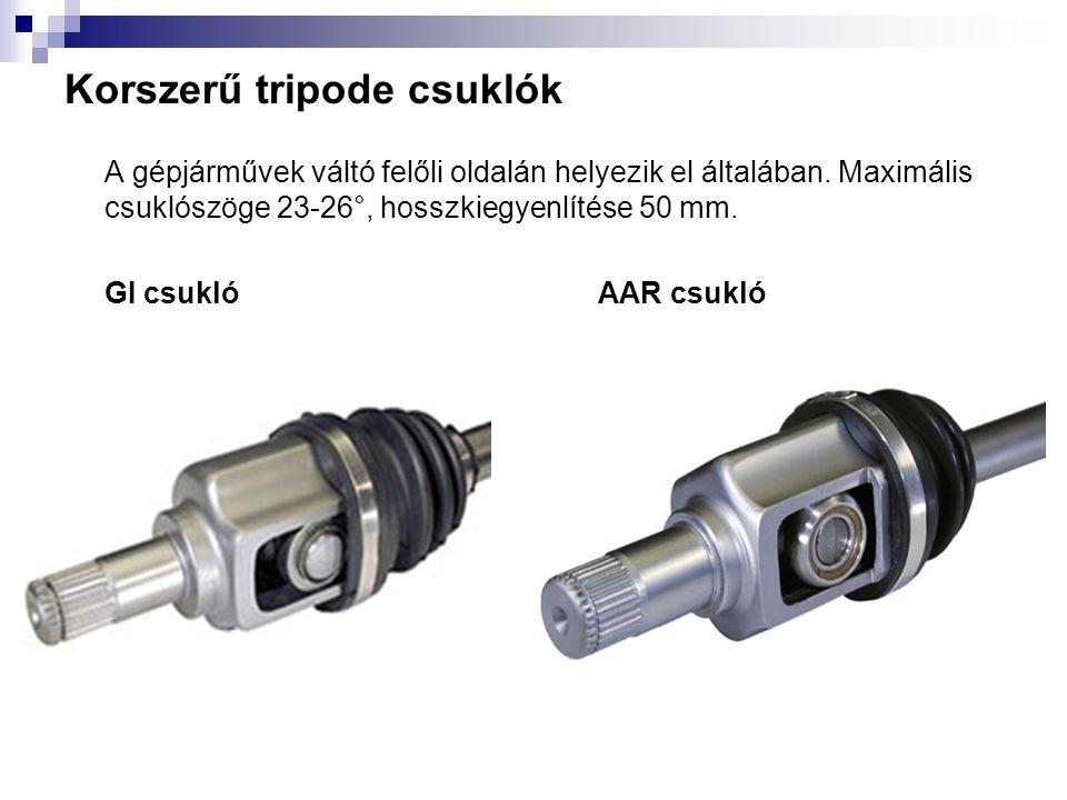 Korszerű tripode csuklók A gépjárművek váltó felőli oldalán helyezik el általában. Maximális csuklószöge 23-26°, hosszkiegyenlítése 50 mm. GI csuklóAA