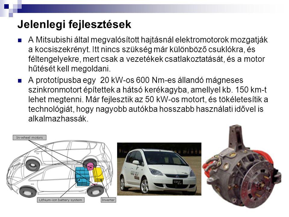 Jelenlegi fejlesztések A Mitsubishi által megvalósított hajtásnál elektromotorok mozgatják a kocsiszekrényt. Itt nincs szükség már különböző csuklókra