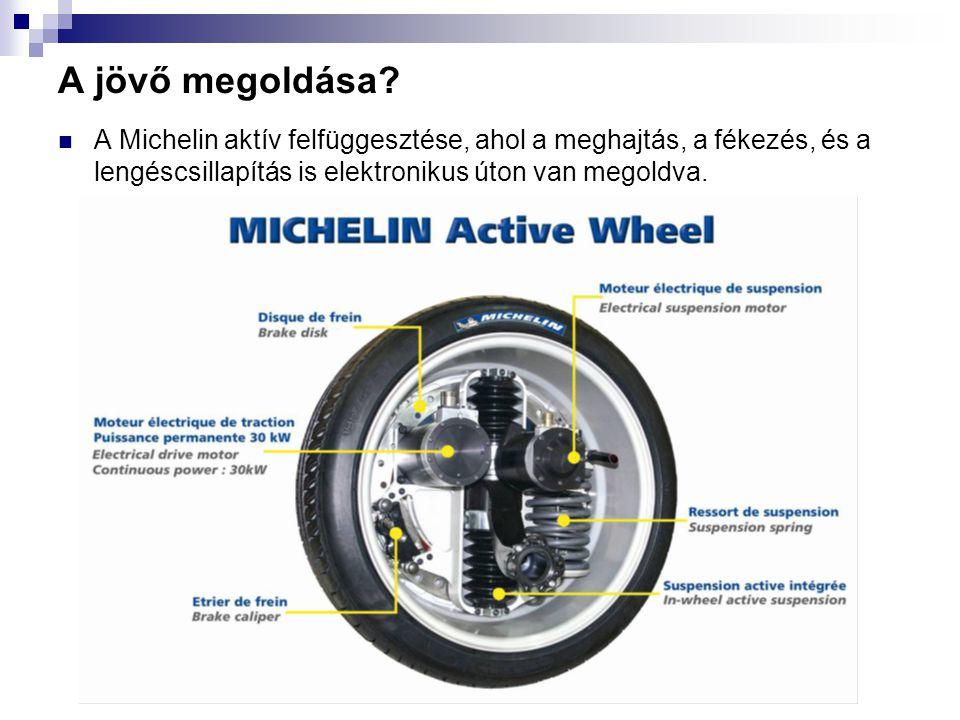 A jövő megoldása? A Michelin aktív felfüggesztése, ahol a meghajtás, a fékezés, és a lengéscsillapítás is elektronikus úton van megoldva.