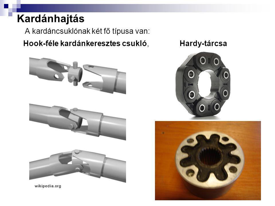 Kardánhajtás A kardáncsuklónak két fő típusa van: Hook-féle kardánkeresztes csukló, Hardy-tárcsa
