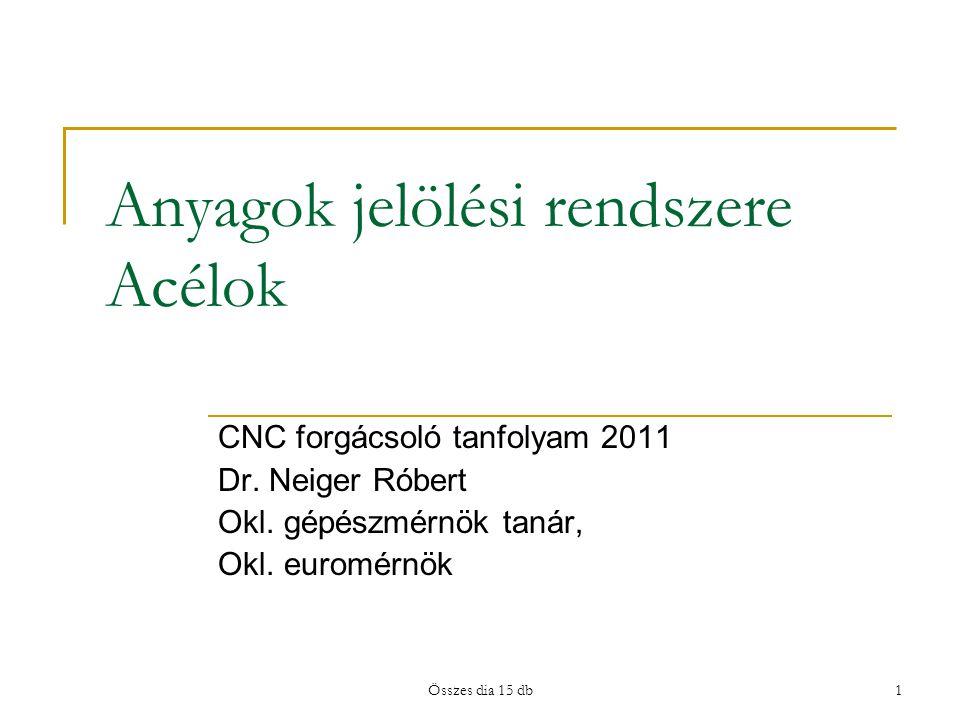 Anyagok jelölési rendszere Acélok CNC forgácsoló tanfolyam 2011 Dr. Neiger Róbert Okl. gépészmérnök tanár, Okl. euromérnök 1Összes dia 15 db