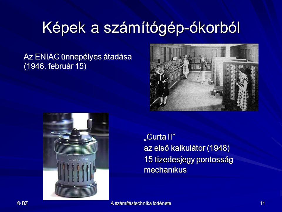 """© BZ A számítástechnika története 11 Képek a számítógép-ókorból """"Curta II"""" az első kalkulátor (1948) 15 tizedesjegy pontosság mechanikus Az ENIAC ünne"""