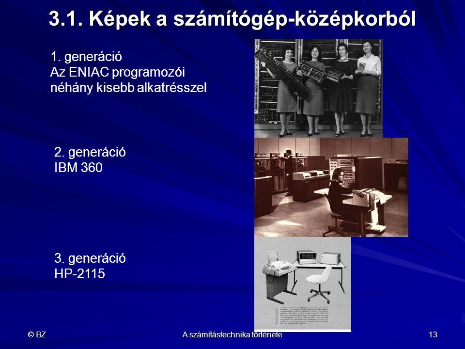 © BZ A számítástechnika története 13 3.1. Képek a számítógép-középkorból 1. generáció Az ENIAC programozói néhány kisebb alkatrésszel 2. generáció IBM