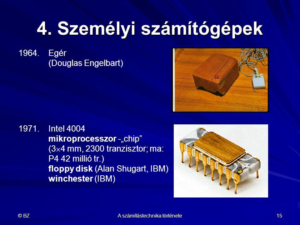 """© BZ A számítástechnika története 15 4. Személyi számítógépek 1964.Egér (Douglas Engelbart) 1971.Intel 4004 mikroprocesszor -""""chip"""" (3  4 mm, 2300 tr"""