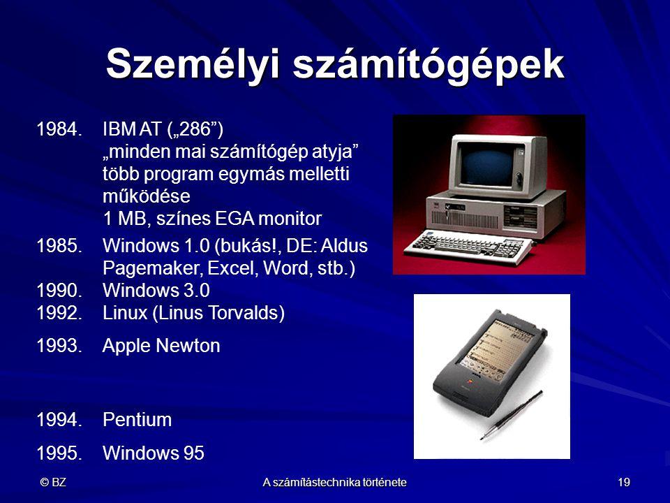 """© BZ A számítástechnika története 19 Személyi számítógépek 1984.IBM AT (""""286"""") """"minden mai számítógép atyja"""" több program egymás melletti működése 1 M"""