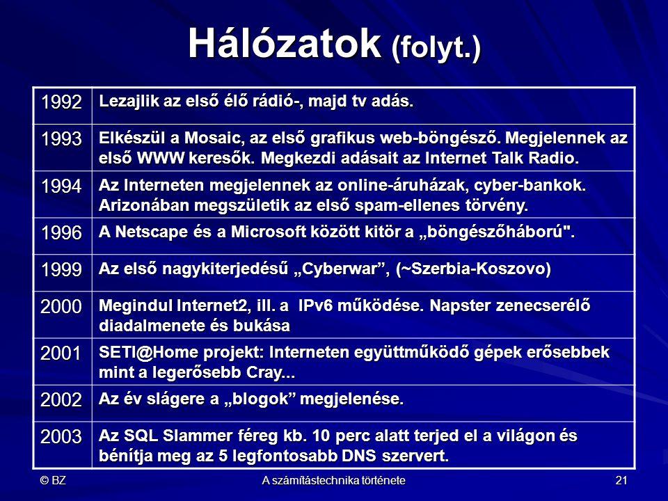 © BZ A számítástechnika története 21 Hálózatok (folyt.) 1992 Lezajlik az első élő rádió-, majd tv adás. 1993 Elkészül a Mosaic, az első grafikus web-b