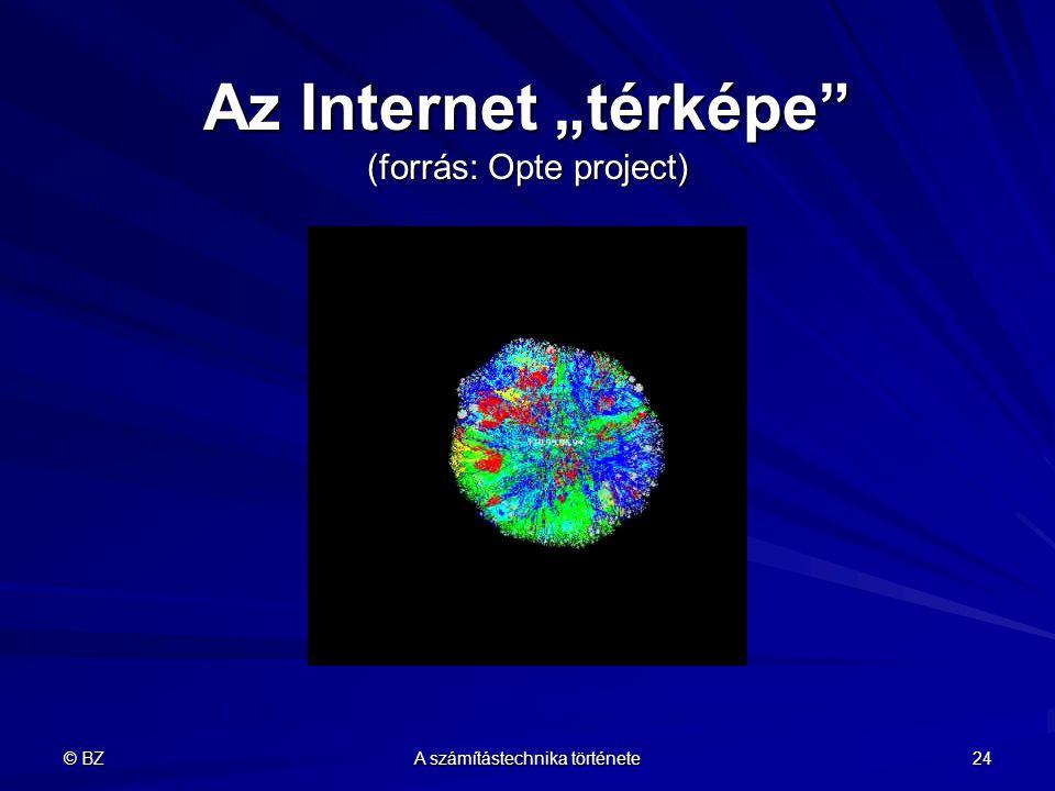 """© BZ A számítástechnika története 24 Az Internet """"térképe"""" (forrás: Opte project)"""