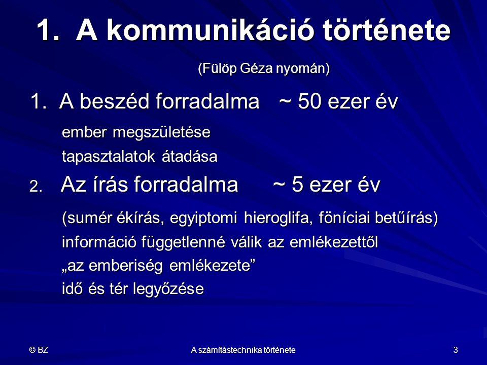 © BZ A számítástechnika története 3 1.A kommunikáció története (Fülöp Géza nyomán) 1. A beszéd forradalma ~ 50 ezer év ember megszületése tapasztalato