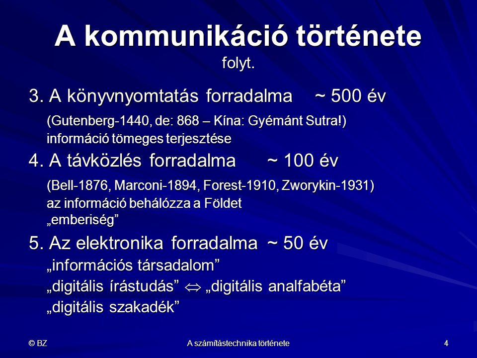 © BZ A számítástechnika története 4 A kommunikáció története folyt. 3. A könyvnyomtatás forradalma ~ 500 év (Gutenberg-1440, de: 868 – Kína: Gyémánt S