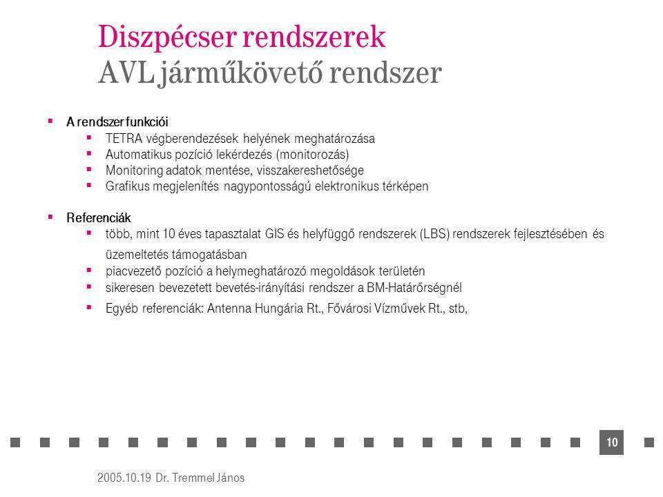 2005.10.19 Dr. Tremmel János 10 Diszpécser rendszerek AVL járműkövető rendszer  A rendszer funkciói  TETRA végberendezések helyének meghatározása 