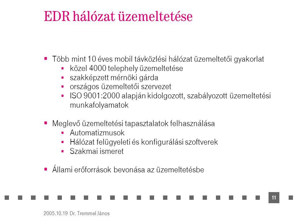 2005.10.19 Dr. Tremmel János 11 EDR hálózat üzemeltetése  Több mint 10 éves mobil távközlési hálózat üzemeltetői gyakorlat  közel 4000 telephely üze