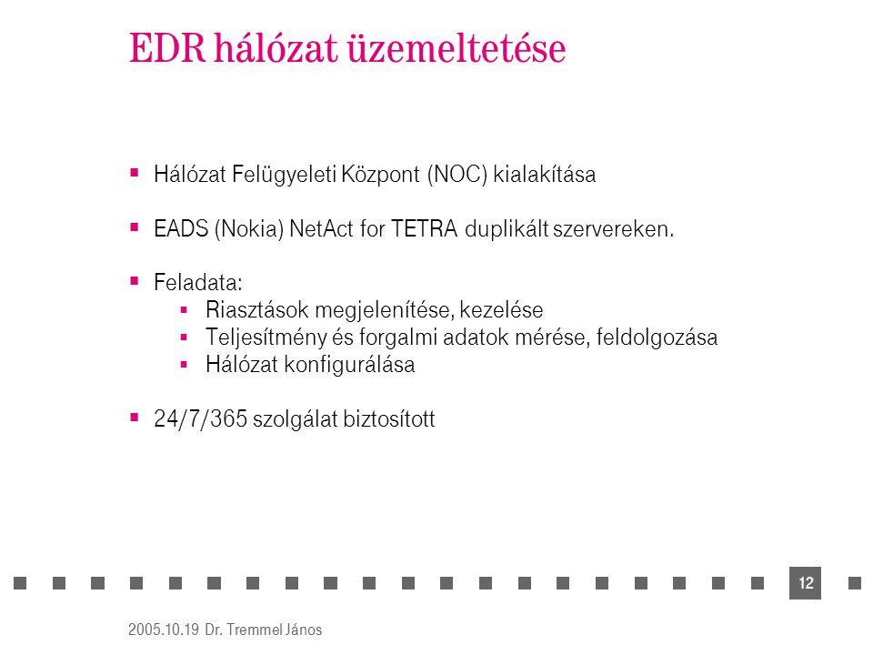 2005.10.19 Dr. Tremmel János 12 EDR hálózat üzemeltetése  Hálózat Felügyeleti Központ (NOC) kialakítása  EADS (Nokia) NetAct for TETRA duplikált sze
