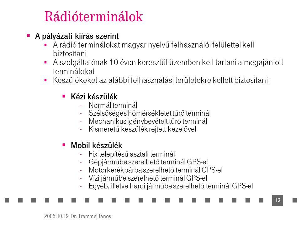 2005.10.19 Dr. Tremmel János 13 Rádióterminálok  A pályázati kiírás szerint  A rádió terminálokat magyar nyelvű felhasználói felülettel kell biztosí