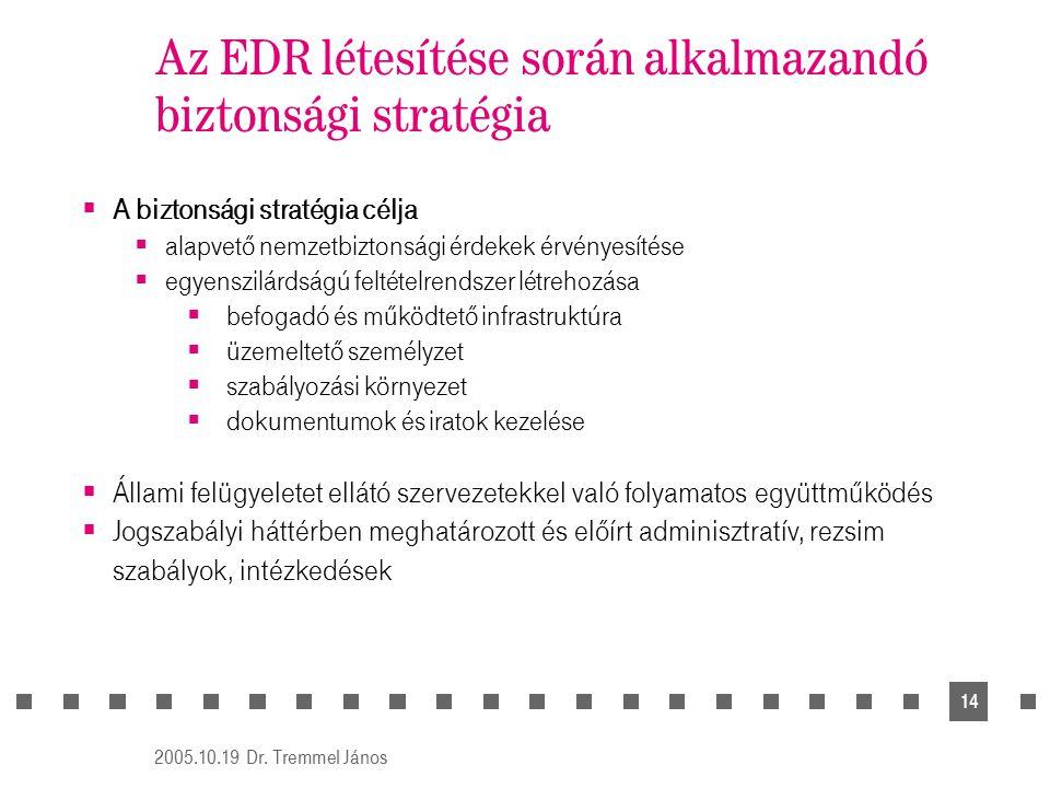 2005.10.19 Dr. Tremmel János 14 Az EDR létesítése során alkalmazandó biztonsági stratégia  A biztonsági stratégia célja  alapvető nemzetbiztonsági é