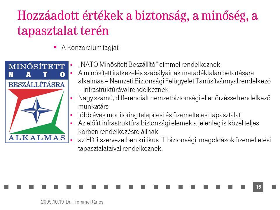 """2005.10.19 Dr. Tremmel János 16 Hozzáadott értékek a biztonság, a minőség, a tapasztalat terén  A Konzorcium tagjai:  """"NATO Minősített Beszállító"""" c"""