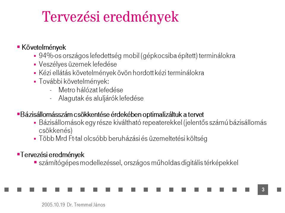 2005.10.19 Dr. Tremmel János 3 Tervezési eredmények  Követelmények  94%-os országos lefedettség mobil (gépkocsiba épített) terminálokra  Veszélyes
