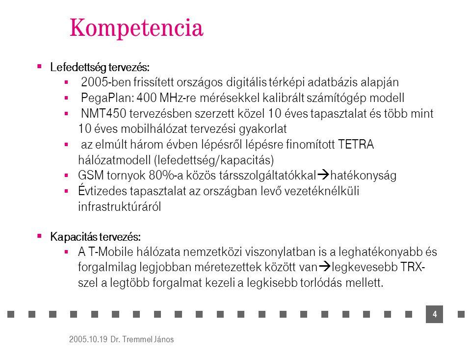 2005.10.19 Dr. Tremmel János 4  Lefedettség tervezés:  2005-ben frissített országos digitális térképi adatbázis alapján  PegaPlan: 400 MHz-re mérés
