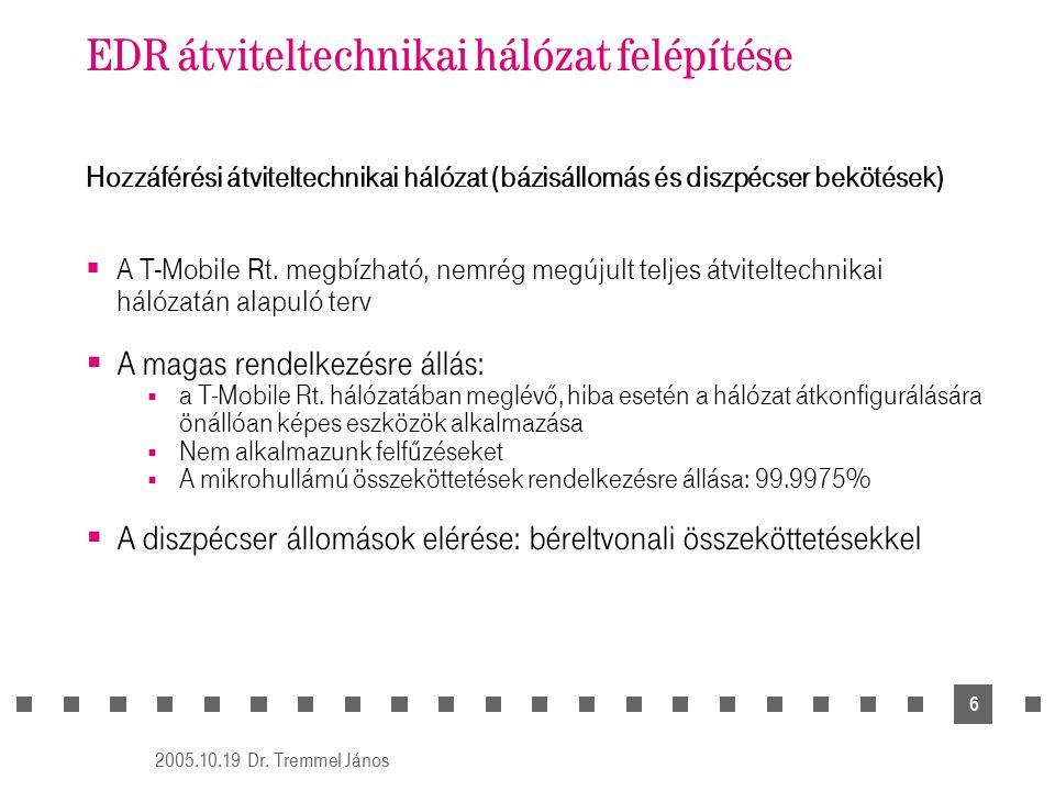 2005.10.19 Dr. Tremmel János 6 EDR átviteltechnikai hálózat felépítése Hozzáférési átviteltechnikai hálózat (bázisállomás és diszpécser bekötések)  A