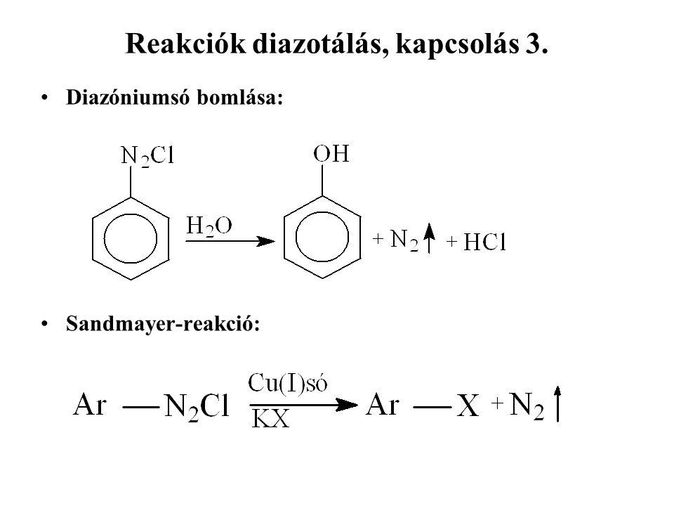 Reakciók diazotálás, kapcsolás 3. Diazóniumsó bomlása: Sandmayer-reakció: