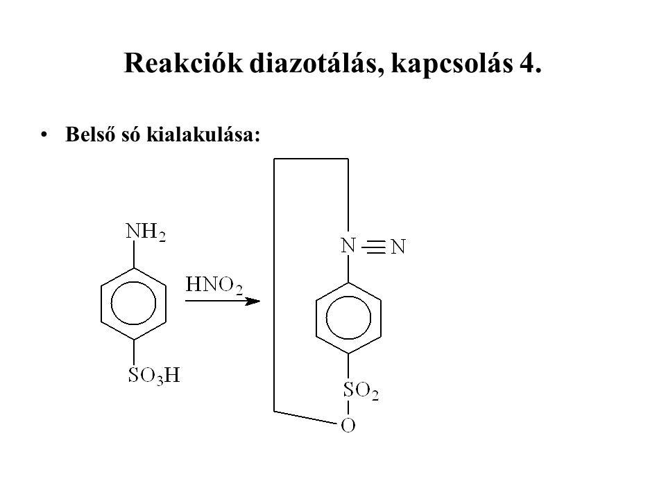 Reakciók diazotálás, kapcsolás 4. Belső só kialakulása: